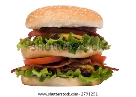 Now that's a hamburger.... two patties, bacon, cheese and lots of greens. (clipping path)