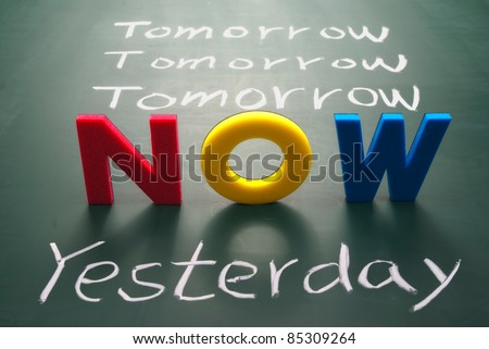 Now, yesterday, and tomorrow words on blackboard, Time concept. - stock photo