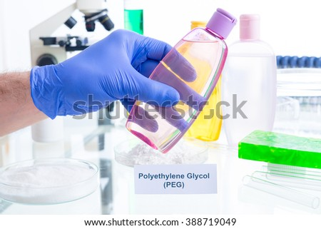 Noxious additives in cosmetics. Laboratory with chemical substances. - stock photo