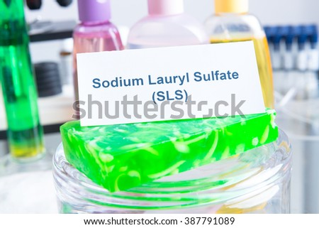 Noxious additives in cosmetics, SLS. Laboratory with chemical substances. - stock photo