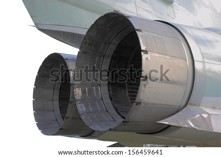 Nozzles of aircraft reactive engines (Tupolev Tu-22M military plane), closeup view - stock photo