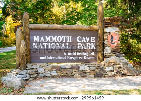 NPS Sign at Mammoth Cave National Park - stock photo