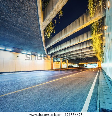 nterior of an urban tunnel without traffic  - stock photo
