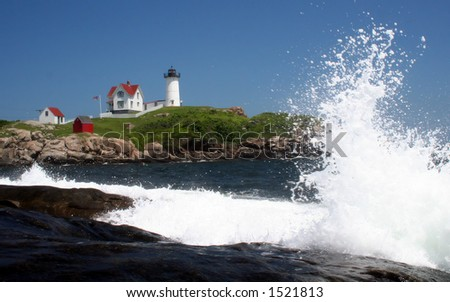 Nubble w/wave - stock photo