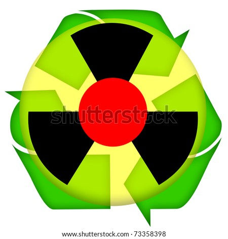 Nuclear accident icon isolated over white background - stock photo