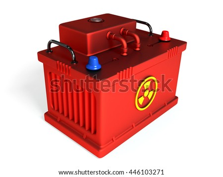 nuclear battery on white background 3D - stock photo