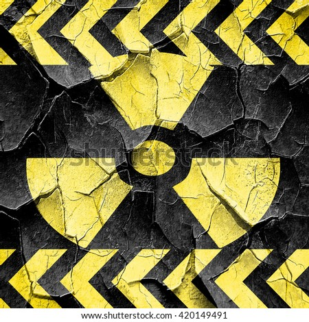 Nuclear danger background, black and yellow rough hazard stripes - stock photo