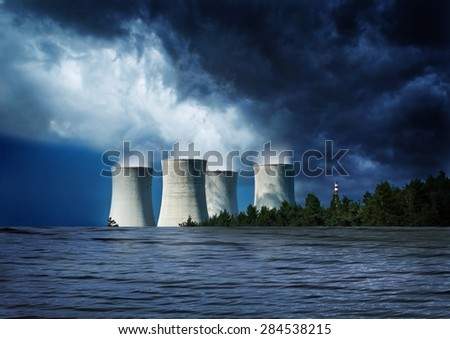 Nuclear danger, flooded station, disaster. - stock photo
