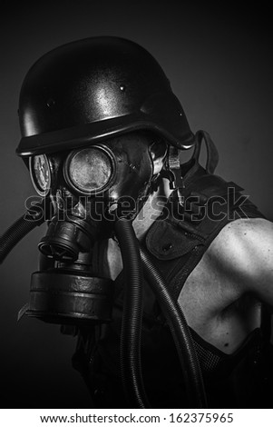 nuclear disaster, man with gas mask, protection - stock photo