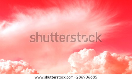 nuclear dramatic sky with clouds, natural background, red filter        - stock photo