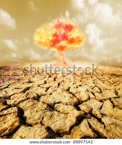 Nuclear explosion in the desert - stock photo