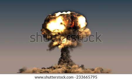 nuclear explosion mushroom cloud - stock photo