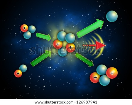 Nuclear fusion reaction generating energy and light. Digital illustration. - stock photo