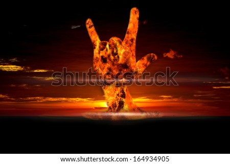 Nuclear history of the world, Nuclear booming with love hand sign, Energy love every thing, nuclear love every things under control by user. - stock photo
