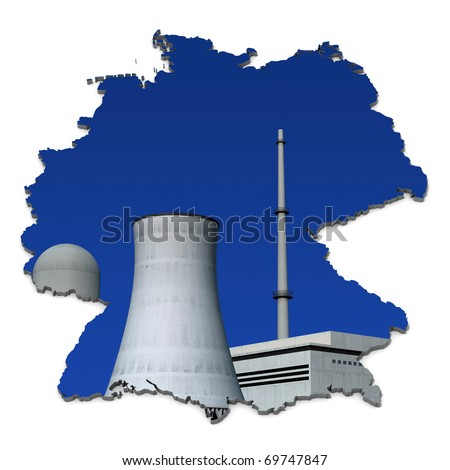 Nuclear power plant against a blue background in an abstract map of Germany - stock photo