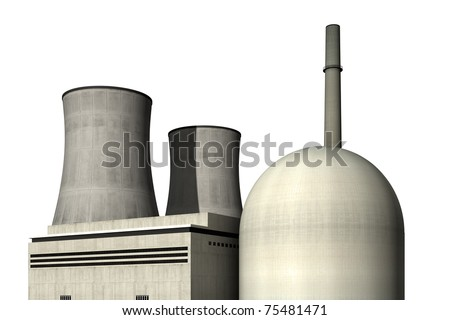 Nuclear power plant against a white background - stock photo