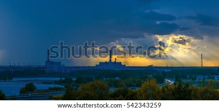 Nuclear power plant at sunset