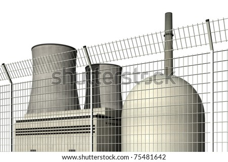 Nuclear power plant behind a barrier fence against a white background - stock photo