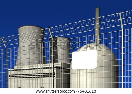 Nuclear power plant behind a barrier fence with an empty plate, editable digital, against a blue background - stock photo