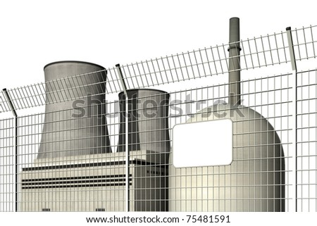 Nuclear power plant behind a barrier fence with an empty plate, editable digital, against a white background - stock photo