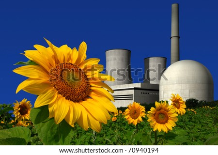 Nuclear power plant behind a sunflower field - stock photo