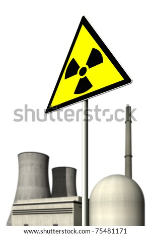 Nuclear power plant behind a warning sign for radioactivity against a white background - stock photo