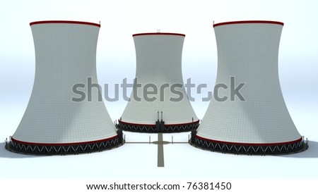 Nuclear power plant chimneys isolated on white background - stock photo