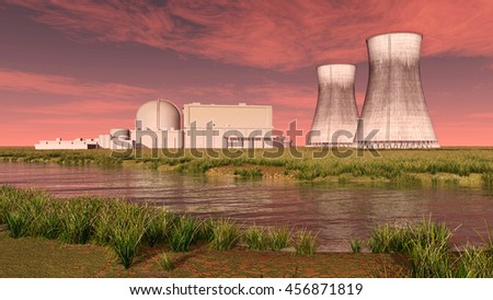 Nuclear power plant Computer generated 3D illustration