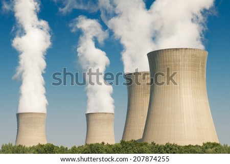 nuclear power plant cooling towers - stock photo