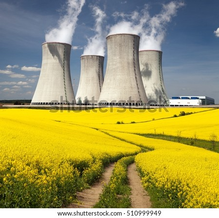 Nuclear power plant Dukovany, cooling tower with golden flowering field of rapeseed, canola or colza and rural road - Czech Republic - two possibility for production of energy