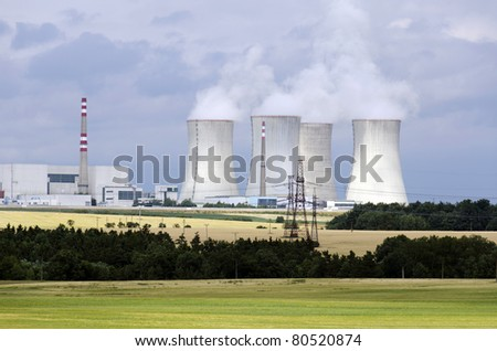 Nuclear power plant Dukovany in Czech Republic, European Union. - stock photo