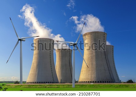Nuclear power plant Dukovany with wind turbines in Czech Republic Europe - stock photo