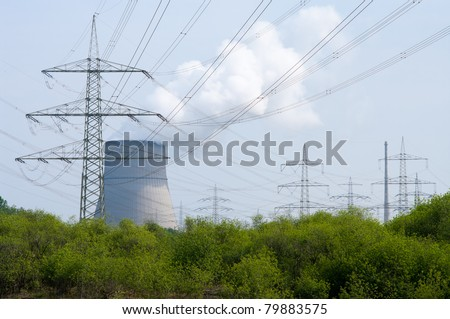 nuclear power plant Emsland in Lingen, Germany. It,s a pressurized water reactor and operational since 1988 - stock photo