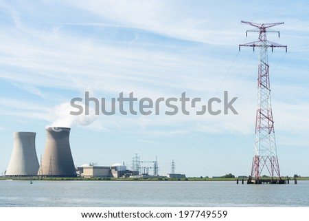 Nuclear power plant in Belgium - stock photo