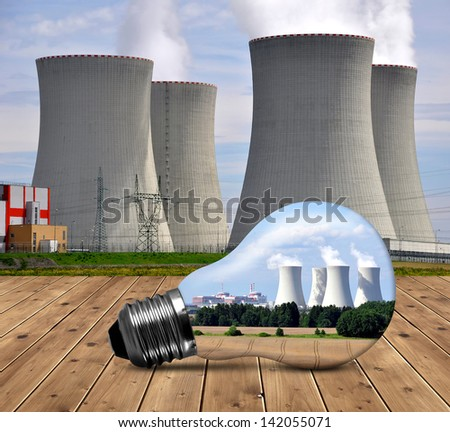 Nuclear power plant in bulb - stock photo