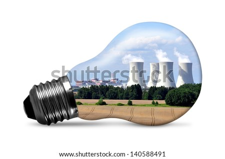Nuclear power plant in bulb isolated on white - stock photo