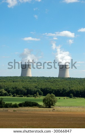 Nuclear power plant in German country - stock photo