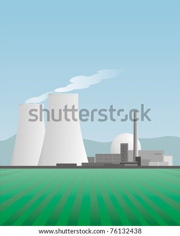 nuclear power plant in rural environment