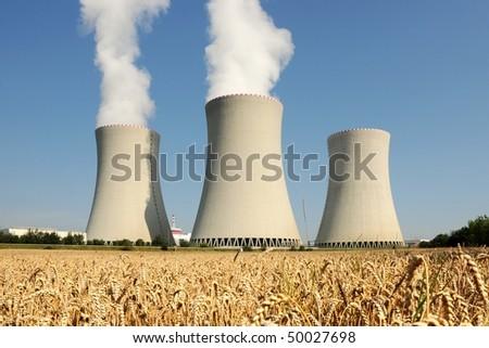 Nuclear power plant in Temelin (Czech Republic) - stock photo