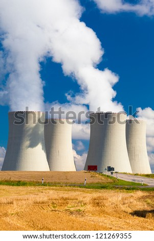 Nuclear Power Plant  in Temelin in the Czech Republic During a Summer Day (a vertical shot)