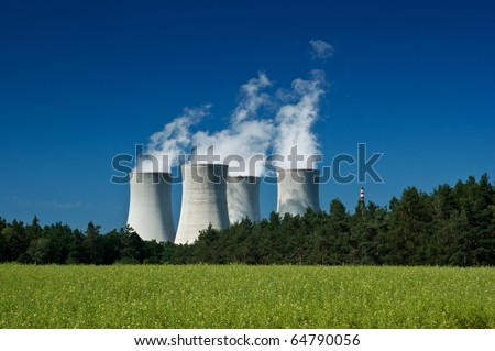Nuclear power plant,  industry and energy - stock photo