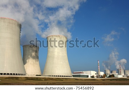 nuclear power plant over agriculture field