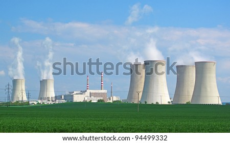 Nuclear power plant panorama. - stock photo