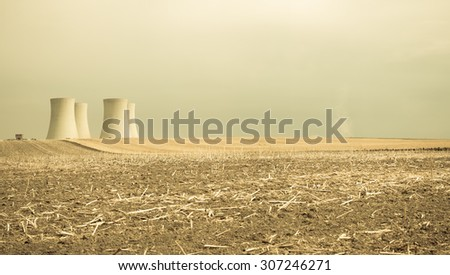 NUCLEAR POWER PLANT, PANORAMA LANDSCAPE - stock photo