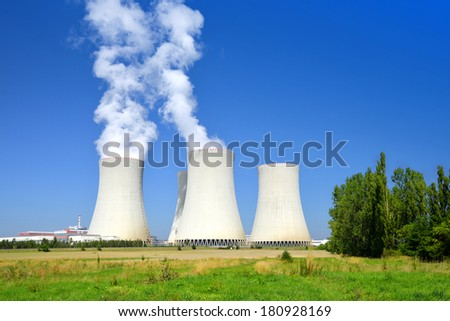 Nuclear power plant Temelin in Czech Republic Europe - stock photo