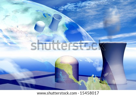 Nuclear power plant with Earth in background map courtesy nasa - stock photo