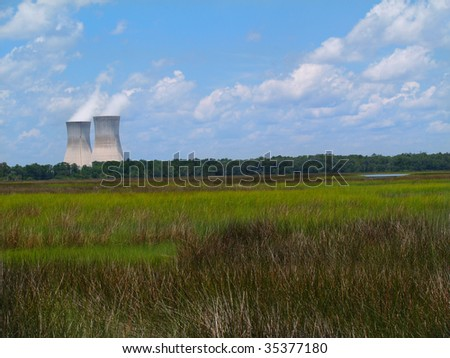Nuclear power plant with steam coming from the chimneys as seen behind a Florida marsh or wetland beneath a cloudy blue sky.