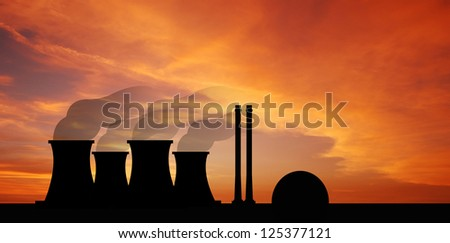 Nuclear power plants sunset background industry industrial for design - stock photo