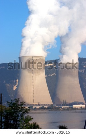 Nuclear power station cooling towers at La Coucourde, France