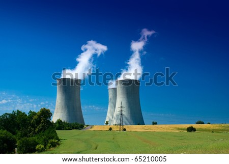 Nuclear power station, energetic industry generating electric energy - stock photo